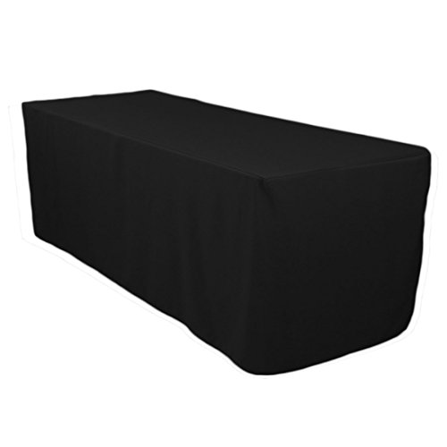 5 Feet Black Tablecloth Fitted Polyester Table Cover Wedding Banquet Event Tablecloth Black