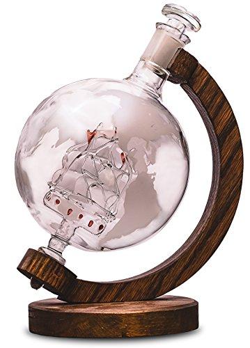 Etched Globe Liquor Decanter - Scotch Whiskey Decanter - 1000ml Glass Decanter for Alcohol - Vodka Bourbon Rum Wine Tequila or Mouthwash - Prestige Decanters Magellans Victoria