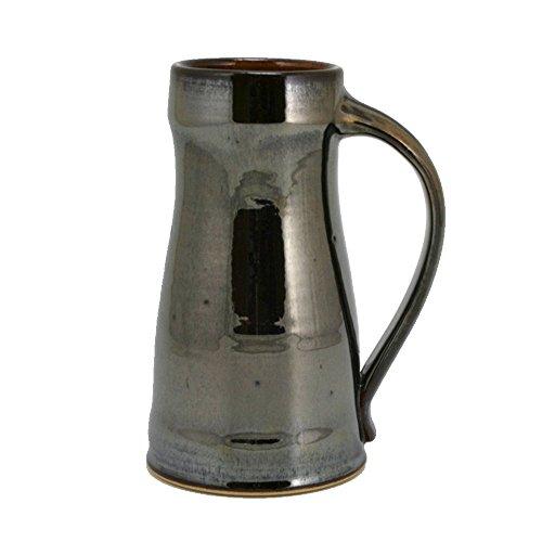32oz Ceramic Beer Mug Tankard with Metallic Brown Glaze