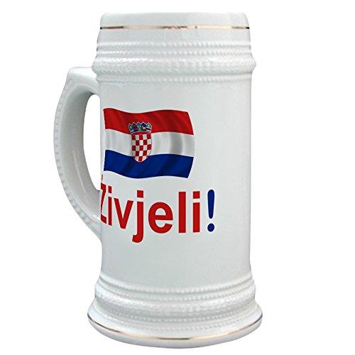 CafePress - Croatian Zivjeli - Beer Stein 22 oz Ceramic Beer Mug with Gold Trim