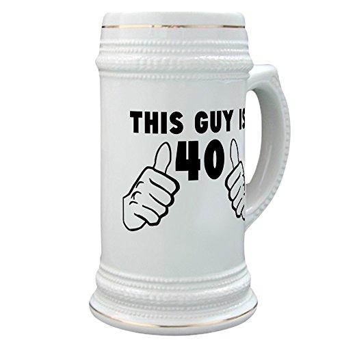 CafePress - This Guy Is 40 - Beer Stein 22 oz Ceramic Beer Mug with Gold Trim