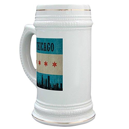 CafePress - Vintage Chicago Skyline - Beer Stein 22 oz Ceramic Beer Mug with Gold Trim