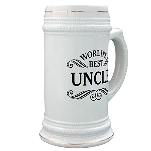 CafePress - Worlds Best Uncle Stein - Beer Stein 22 oz Ceramic Beer Mug with Gold Trim