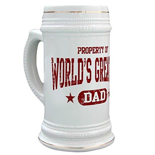CafePress - Worlds Greatest Dad - Beer Stein 22 oz Ceramic Beer Mug with Gold Trim