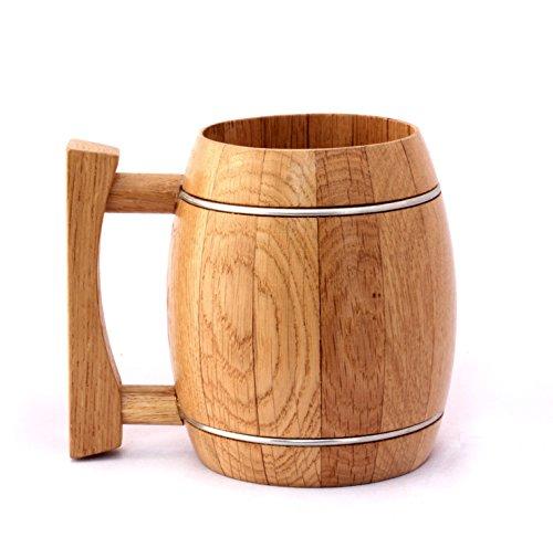 Handmade Natural Wood Beer Mug Drinkware Perfect Gift for Men  Women By WoodTrim Barrel Beer Mug 530 ml
