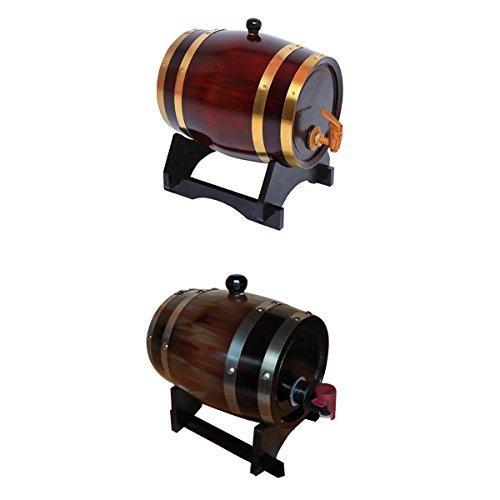 MagiDeal 2 Colors 15L Wooden Wine Barrel Beer Whiskey Rum Brewing Port Kegs Brewing