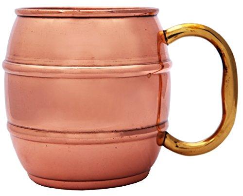 Melange 100 Authentic Copper Barrel Beer Mug Size-14 Oz Set of 4 Mugs