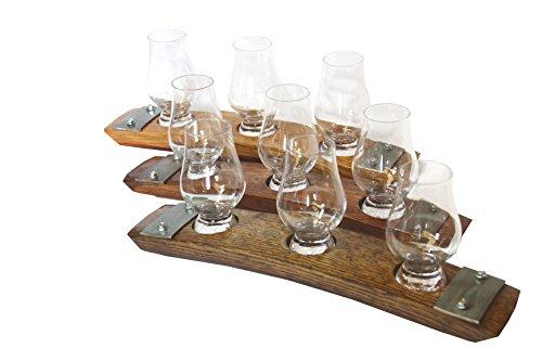 Premium Barrel Stave Whiskey Flight Scotch Flight Bourbon Flight 3 Glencairn Crystal Glass Flight Red Mahogany