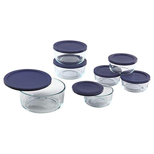 Pyrex Simply Store 14-Piece Round Glass Food Storage Set Blue