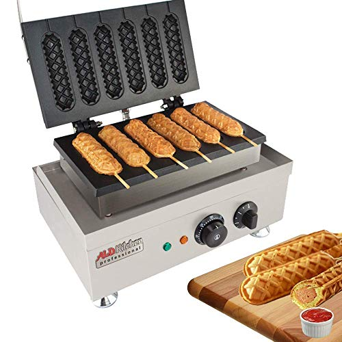 Hot Dog Waffle Maker Commercial 6 PCS Lolly French Hotdog molds 110v  Stainless Steel Crispy Baking Corn Dog Sausage Waffles Non-Stick Maker Machine Electric Muffin by ALDKitchen Hot Dog