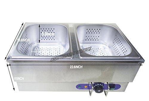INTBUYING 2Pot 110V Kitchen Electric Hot Dog Steamer Bun Warmer Stainless Steel Bain Marie