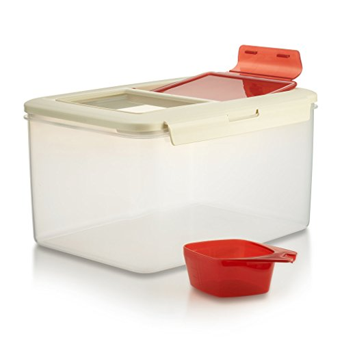 Komax Biokips Large Food Storage Container  20-lb 11-L Dry Food Flour Rice Container  Pet Food Storage Container  Dog Cat Food Bin  Large Containers With Lids Scooper  BPA-Free