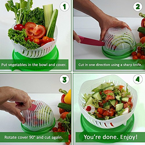 Salad Cutter Bowl 60 Seconds Salad Maker by CIVIDIN Easy Fruit Vegetable Cutter Bowl Fast Fresh Salad Slicer Salad Chopper