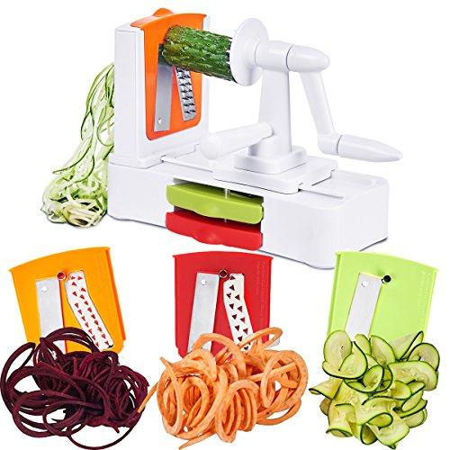 Spiralizer Vegetable Spiral Slicer 3 Stainless Steel Blades - Zucchini NoodleVeggie Pasta Spaghetti MakerVeggie shredder and Cutter - Low CarbPaleoGluten by Godmorn