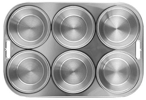 Fox Run Stainless Steel Muffin Pan 6 Muffins New Bakeware