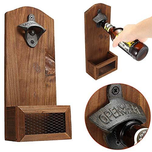 Boloniprod Vintage Wall Mounted Wooden Bottle Opener with Cap Catcher Beer Bottle Opener Wine Bottle Opener Accessory Gift for WeddingKTVBirthdayParty DrinkingFriendsLovers etc Style 2