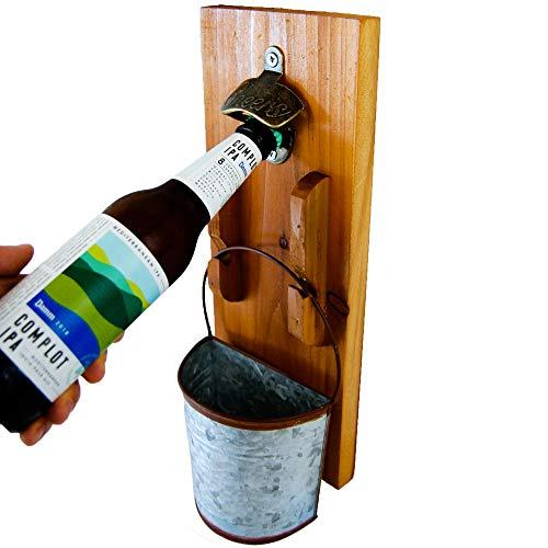 Bottle Opener Wall Mounted - Rustic Vintage Wood Plaque Beer Opener Rustic