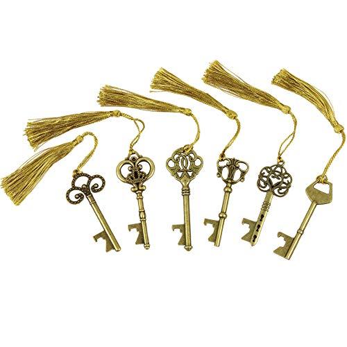 DuomiW 18 PCS Key Bottle Openers Vintage Skeleton Key Bottle Openers Skeleton Key Bottle Openers Wedding Favors Antique Rustic Decoration Bronze6 Different Styles x 3