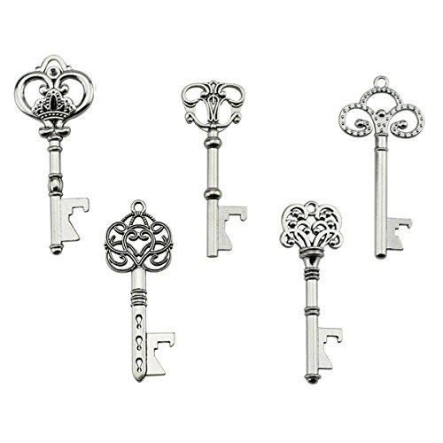 Key Bottle Openers - Assorted Vintage Skeleton Keys Wedding Party Favors Rustic Decoration Pack of 25 Silver