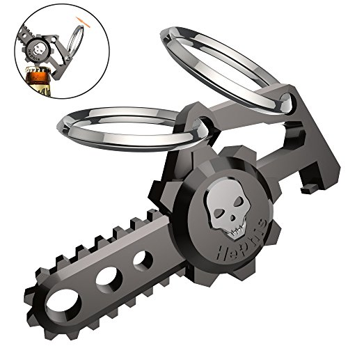hephis Chainsaw Skull Car Keychain with Dual Rings for MenWomenBottle OpenerGun Black