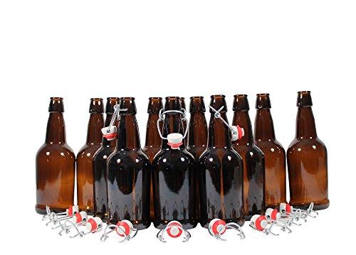 Mr Beer 12 Count EZ Cap Swing Top Reusable Grolsch Bottles for Beer Wine Kombucha and Kefir 16oz