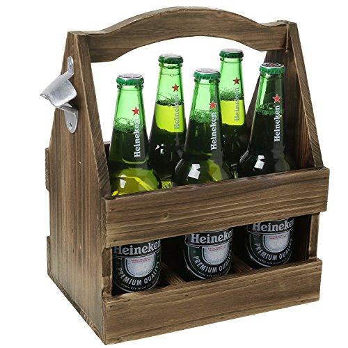 Rustic Light Brown Torched Wood 6-Bottle Beer Crate with Metal Bottle Cap Opener