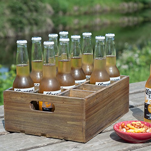 Vintage Finish Rustic Brown Wood 12 Slot Beer Bottle Serving Crate  Beer Storage Box w Carrying Handles