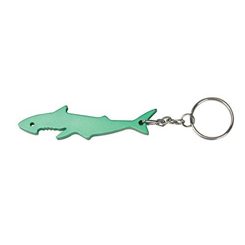 Thirsty Rhino Sarka Shark Shaped Anodized Aluminum Bottle Opener Keychain Key Ring Green Set of 1