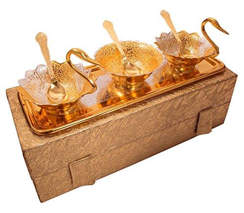 Jaipur Ace Designer Silver Plated Swan Shaped Bowl Set For Make Dining Serve Best To Your Guest Hotel Etc 36195 Cm Gold