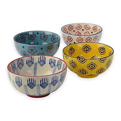 Signature Housewares Print 6-Inch Utility Bowls Set of 4
