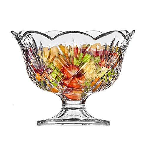 Elegant Large Crystal Serving Bowl Centerpiece For Home Office Wedding Decor Fruit Snack Dessert Server Premium Quality Punch Bowl