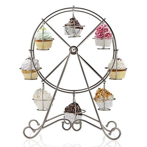 Home-X Rotating Ferris Wheel Cupcake and Dessert Server for 8 Cupcakes