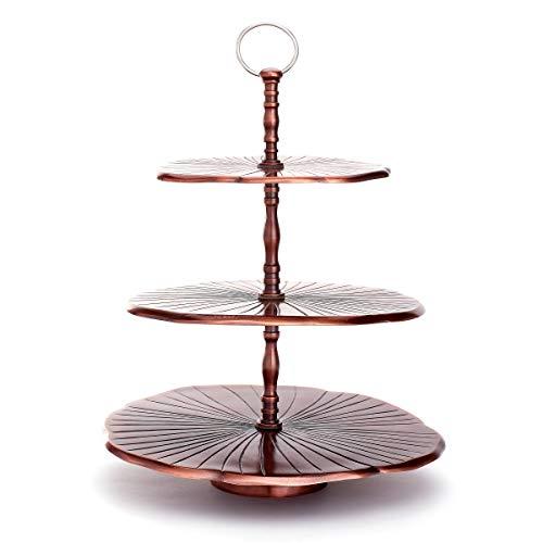 Old Dutch 3439AC 3 Tier Antique Copper Aluminum Lily Pad Dessert Server 17⅜ H Cake Stand Serving