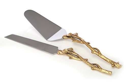2 Piece Goldleaf twig Cake Server Set 1 Cake Knife and 1 Cake Server Leaf Design 2 Tone Made of Stainless Steel and Brass Ideal for Weddings Partys Elegant events