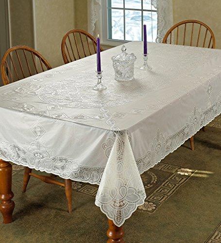 Violet Linen Vinyl Lace Betenburg Design OblongRectangle Tablecloth 60 x 90 Beige