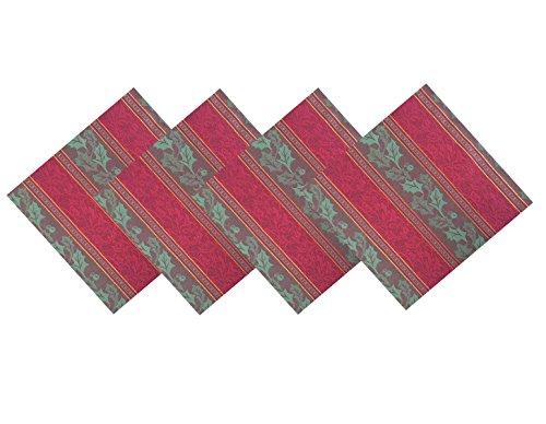Golden Jacquard Ivy Cottage Stripe Red and Gold Cotton Fabric Weave Napkins Set of 4 Napkins