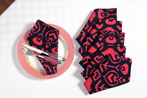 Shalinindia Printed colored napkins Set Of 6 Size 20 X 20 100 Cotton Fabric