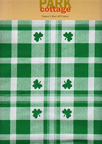 St Patricks Day Green White Clover Shamrock Cotton Fabric Tablecloth 52 x 70 RectangleOblong
