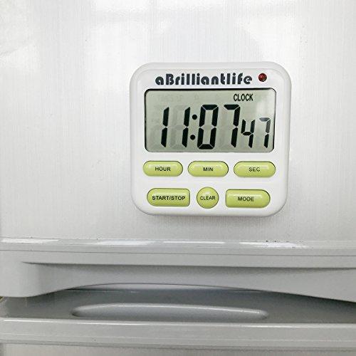 aBrilliantLife Electrical Digital Kitchen Timer 24 Hour Alarm Clock Big Digits Large ScreenMagnet BackingStandON OFF SwitchWhite and Green