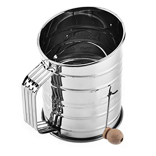 Xiangfeng 3-Cup Stainless Steel Baking Hand Crank Flour Sifter With 2 Wire Agitator