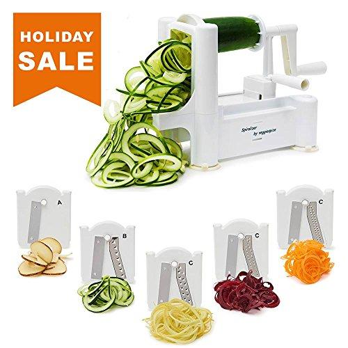 5 Blade Spiralizer - Spiral Slicer Vegetable Maker Shredder  Makes Zucchini Noodles Veggie Spaghetti Pasta and Cut Vegetables in Minutes Includes Blade Storage Box