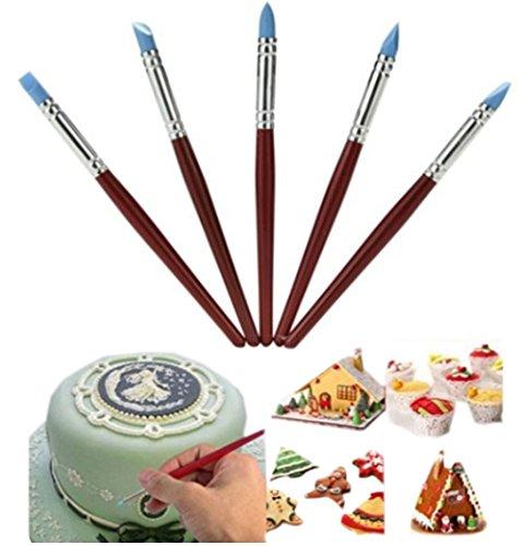 Lesirit 5 pcs Fondant Cake Detail Decorating Shaping Pen Red