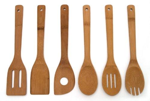 Lipper International 826 Set of 6 Bamboo Kitchen Tools, in Mesh Bag