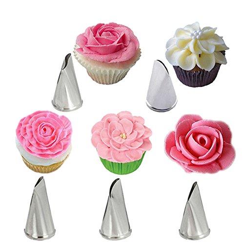 Bakeware Accessories - 5 Pcs Set Rose Petal Icing Piping Nozzles Metal Cream Tips Cake Decorating Tools Cupcake Pastry Tool