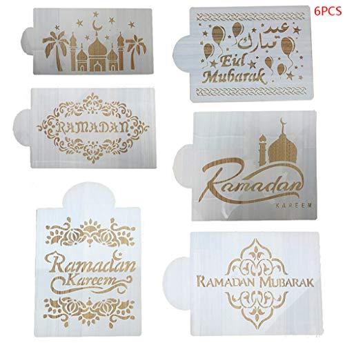 6PcsSet Coffee Making MoldsEid Mubarak Ramadan Coffee Flower Spray Stencils Cake Decorating DIY Template Sugar Powder Sieve