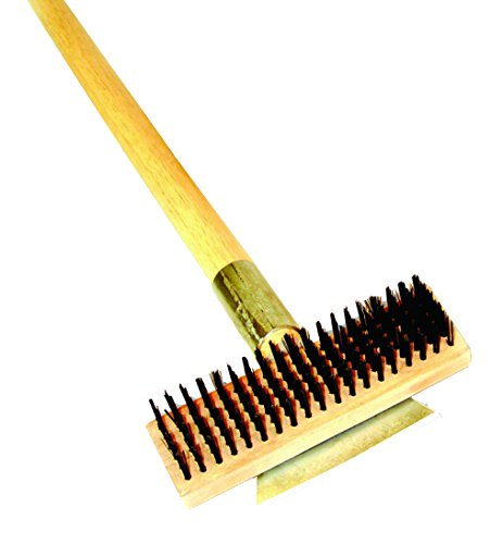Excellante Heavy Duty Wire Brush with Scraper and Long Wood Handle 27