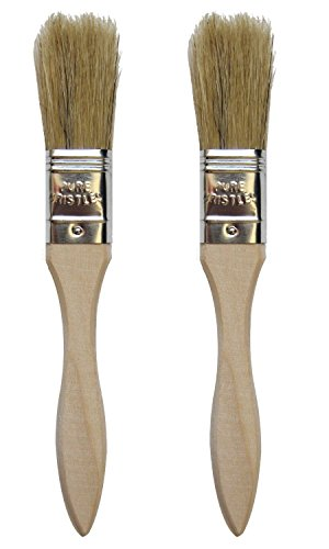 Set of 2 Natural Bristle Pastry Brushes Wood Handle 75 Long with 16 Long Pure Bristles