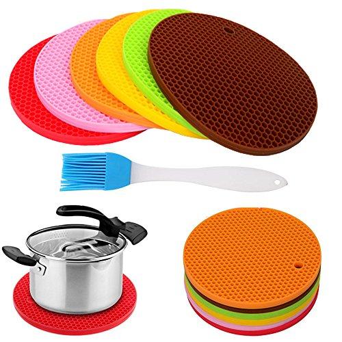 Silicone Multi-Use Hot Pads Pot Holder Trivet Mat Jar Opener Spoon Rest Set of 6Heat Resistant Non Slip Durable Flexible Multicolor Dishwasher Safe Kitchen pads1 Oil Brust Gift