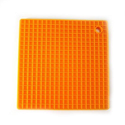 Orange HoneyComb Extra Thick Square Silicone HotSpot Pot Holder Non-slip Insulation Flexible Heat Resistant Pad