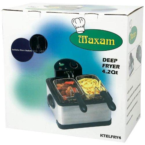 Maxam Ktelfry4 4qt Electric Stainless Steel Deep Fryer